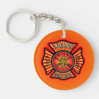 Akron Ohio Fire Department Keychain. Single-Sided Round Acrylic Key Ring