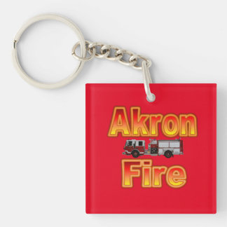 Akron Ohio Fire Department Keychain. Single-Sided Square Acrylic Key Ring