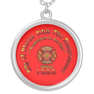 Akron Ohio Fire Department Necklace. Round Pendant Necklace