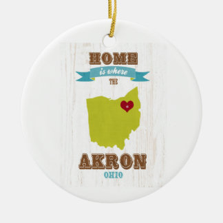 Akron, Ohio Map – Home Is Where The Heart Is Ceramic Ornament