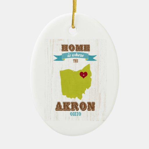 Akron, Ohio Map – Home Is Where The Heart Is Ornament