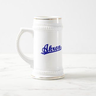 Akron script logo in blue coffee mug