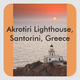 Akrotiri Lighthouse, Santorini, Greece Square Sticker