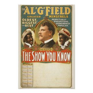 Al. G. Field Greater Minstrels Vintage Poster Art Photo