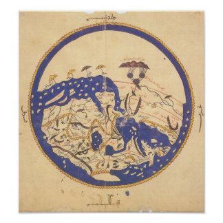 Al-Idrisi's World Map Poster
