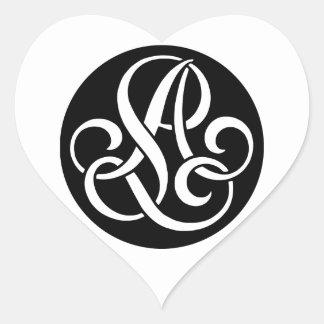 AL-LA-Monogram Heart Sticker