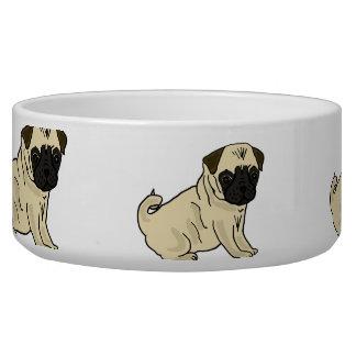 AL- Pugs Cartoons Water Bowl Dog Food Bowls