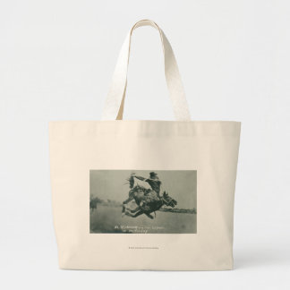 Al Wilkenson riding Torpedo. Large Tote Bag