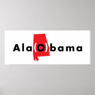 Ala(O)bama - Red and Black and White Print