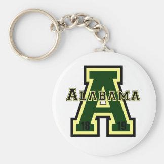 Alabama 'A' Green Basic Round Button Key Ring