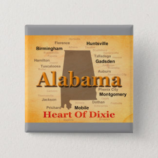 Alabama Aged Map Silhouette 15 Cm Square Badge