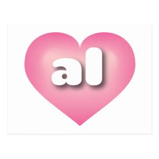 Alabama al pink fade heart post card