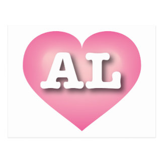 Alabama AL pink fade heart Post Cards