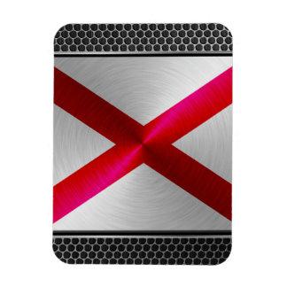 Alabama brushed metal flag rectangular photo magnet