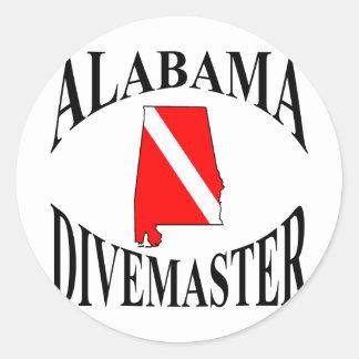 Alabama Divemaster Round Stickers