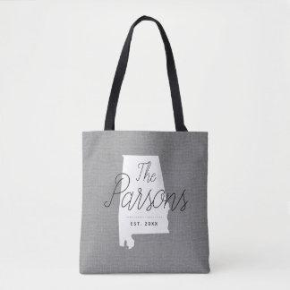 Alabama Family Monogram State Tote Bag
