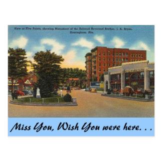 Alabama, Five Points Postcard