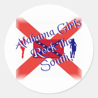 Alabama Girls Round Stickers
