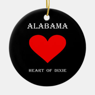 Alabama Heart of Dixie Ceramic Ornament