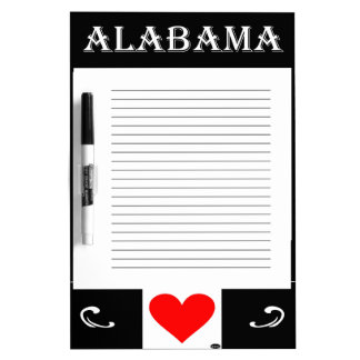 Alabama Heart of Dixie Dry Erase Whiteboards