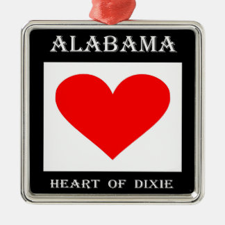 Alabama Heart of Dixie Metal Ornament