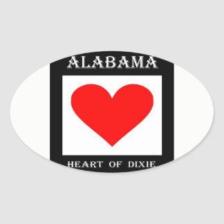 Alabama Heart of Dixie Oval Sticker