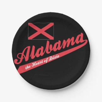 Alabama Heart of Dixie 7 Inch Paper Plate