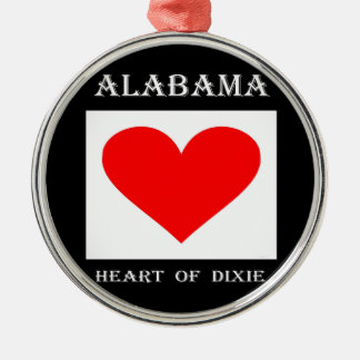 Alabama Heart of Dixie Silver-Colored Round Decoration