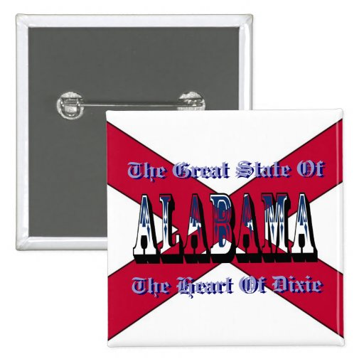 Alabama Heart Of Dixie State Flag Button