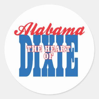 Alabama Heart of Dixie Round Stickers
