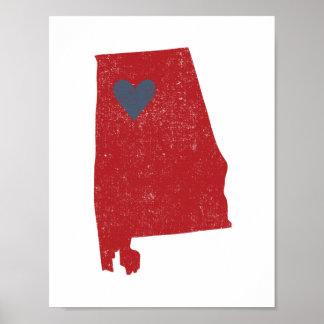 Alabama Heart poster (crimson) - Customizable!