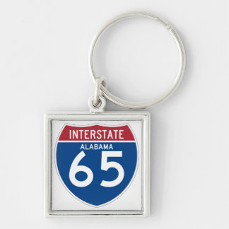 Alabama I-65 Interstate Highway Shield - AL Silver-Colored Square Key Ring
