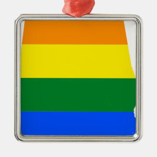 Alabama LGBT Flag Metal Ornament