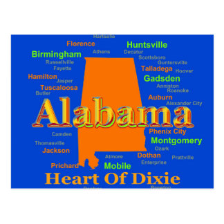 Alabama Map Silhouette Pop Art Postcard