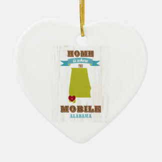 Alabama, Mobile Map – Home Is Where The Heart Is Ceramic Heart Decoration