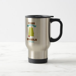 Alabama, Mobile Map – Home Is Where The Heart Is Stainless Steel Travel Mug