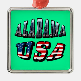 Alabama Picture and USA Flag Font Metal Ornament