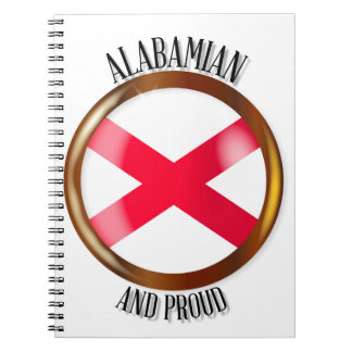 Alabama Proud Flag Button Notebook