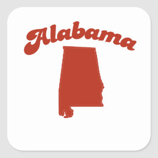 ALABAMA Red State Square Stickers