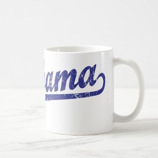 Alabama script logo in blue mugs