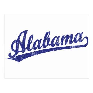 Alabama script logo in blue postcard