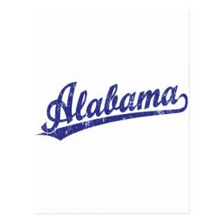 Alabama script logo in blue post card