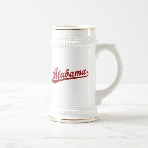 Alabama script logo in red mug