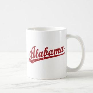 Alabama script logo in red classic white coffee mug