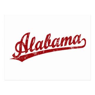 Alabama script logo in red postcard