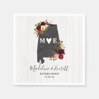Alabama State Destination Rustic Wedding Monogram Disposable Serviettes