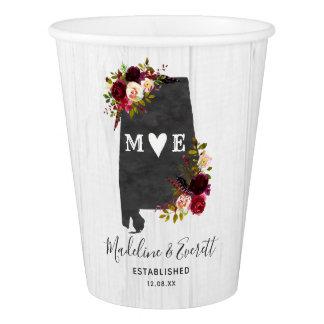 Alabama State Destination Rustic Wedding Monogram Paper Cup
