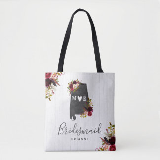 Alabama State Destination Rustic Wedding Monogram Tote Bag