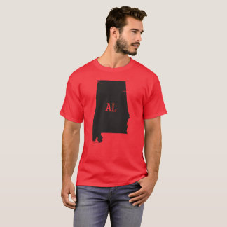 Alabama State Map & AL Abbreviation Men's T-Shirts