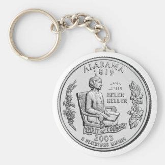 Alabama State Quarter Basic Round Button Key Ring